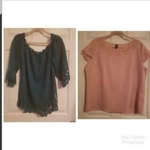 Set of 2 Shein Blouses Green/Pink